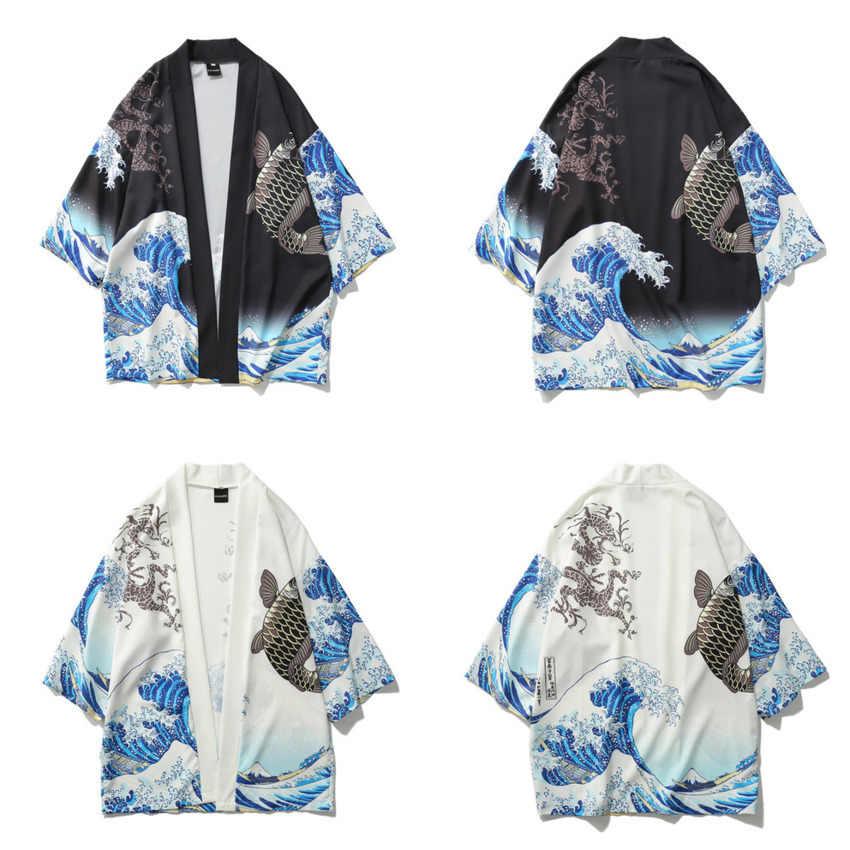 2020 nova onda samurai peixe imprimir estilo japonês roupas asiáticas diário quimono yukata harajuku festival de sakura retro haori jaqueta