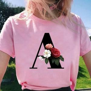 Fashion Tops Vrouwen T-shirts Elegante Bloemen 26 Alfabet Lettertype Print Harajuku Tshirt Ropa Mujer Kpop T Shirts 2020 Esthetische T-shirt(China)