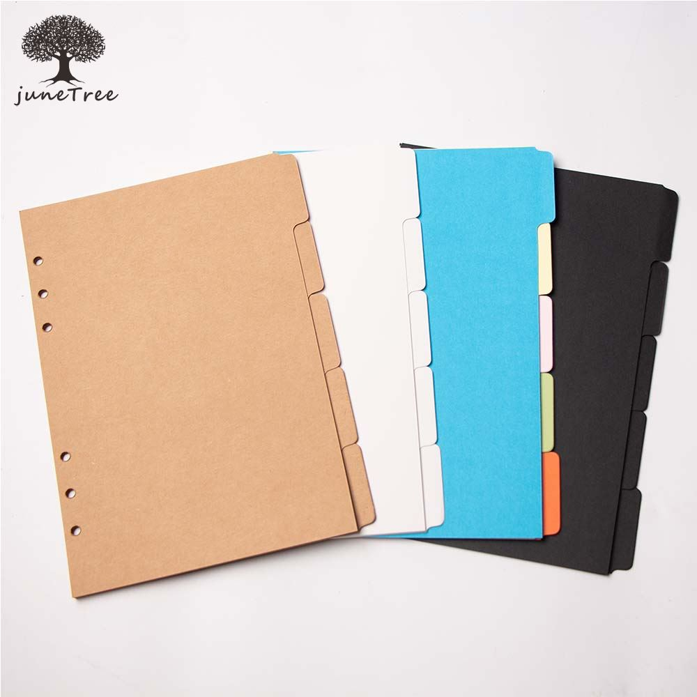 Colorful Thick Paper Separator Rings Notebook 6 Hole Index Page A5 A6 Loose Leaf Diary Categories Clapboard Journal