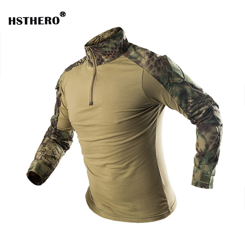 New Men Combat Shirt Army Long Sleeve Outdoor Camouflage Army Camping Hiking Shirt Men Soldiers Combat Training Clothing T shirt