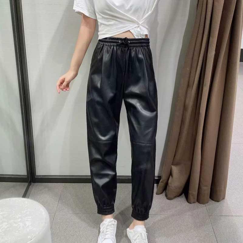 النساء بولي Leather الجلود الكاحل طول السراويل 2020 جديد سيدة عادية مطاطا الخصر فضفاض بنطلون P1879