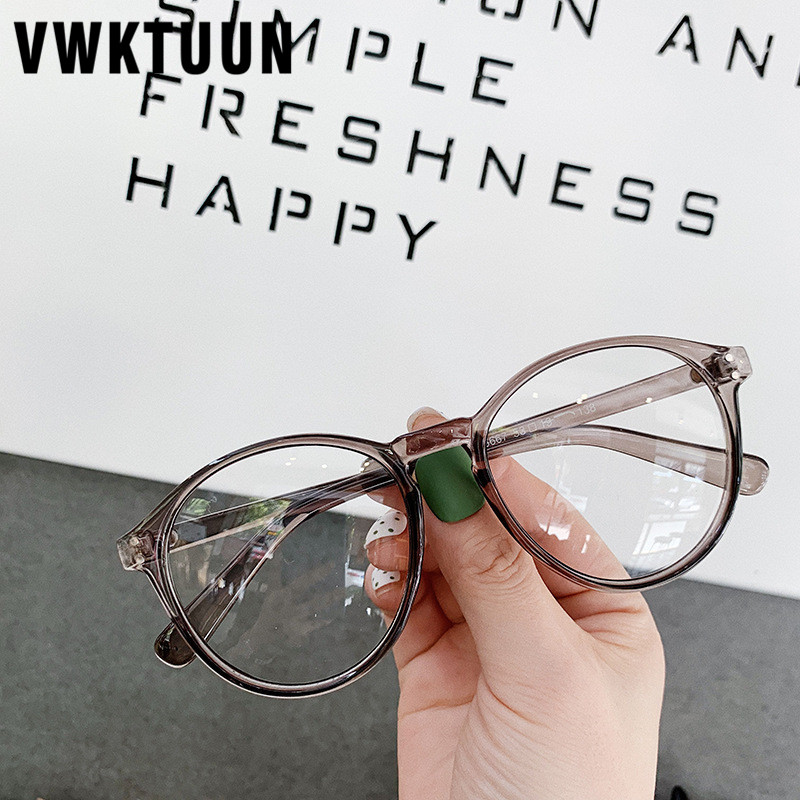 VWKTUUN New Round Glasses Frames Vintage Oversized Eyeglasses Frames For Women Big Computer Glasses Frame Students Fake Glasses