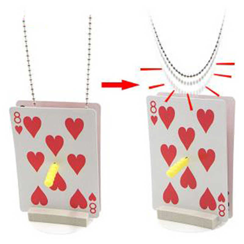 New 1 set Chain Thru Sword Card Magic Tricks Close up Stage Magic Props Toys