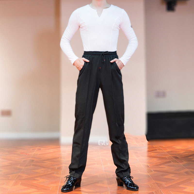 Men's Latin Dance Pants Elastic Waist Loose Harlan Practice Trousers For Male Ballroom Cha Cha Samba Stage Dance Pants DL5236