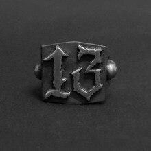 Punk rock moda 13 carta anel homem estilo anéis de aço inoxidável para as mulheres retro casamento personalizado jóias osr452