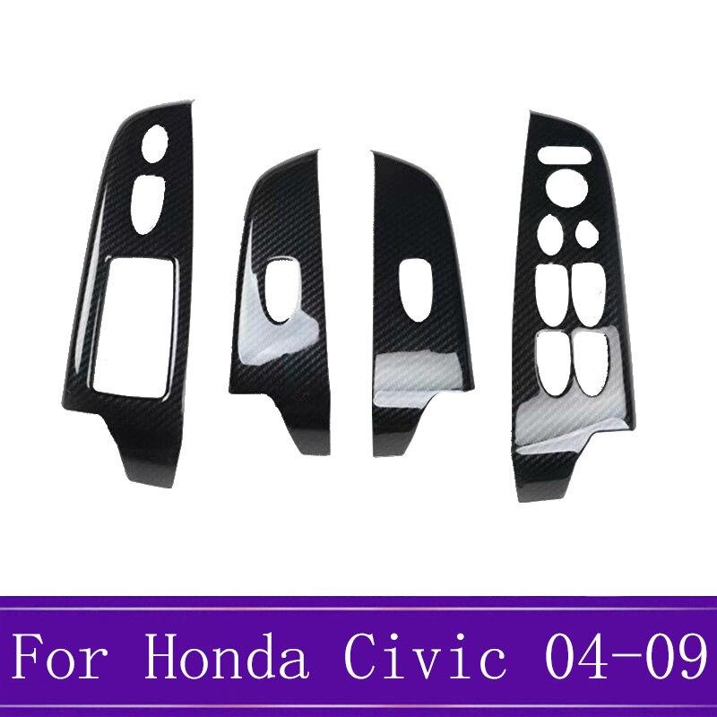 4 pièces/ensemble panneau de commande de fenêtre en Fiber de carbone interrupteur de levage en verre garniture cadre décoration pour Honda Civic 8th 2004-2009