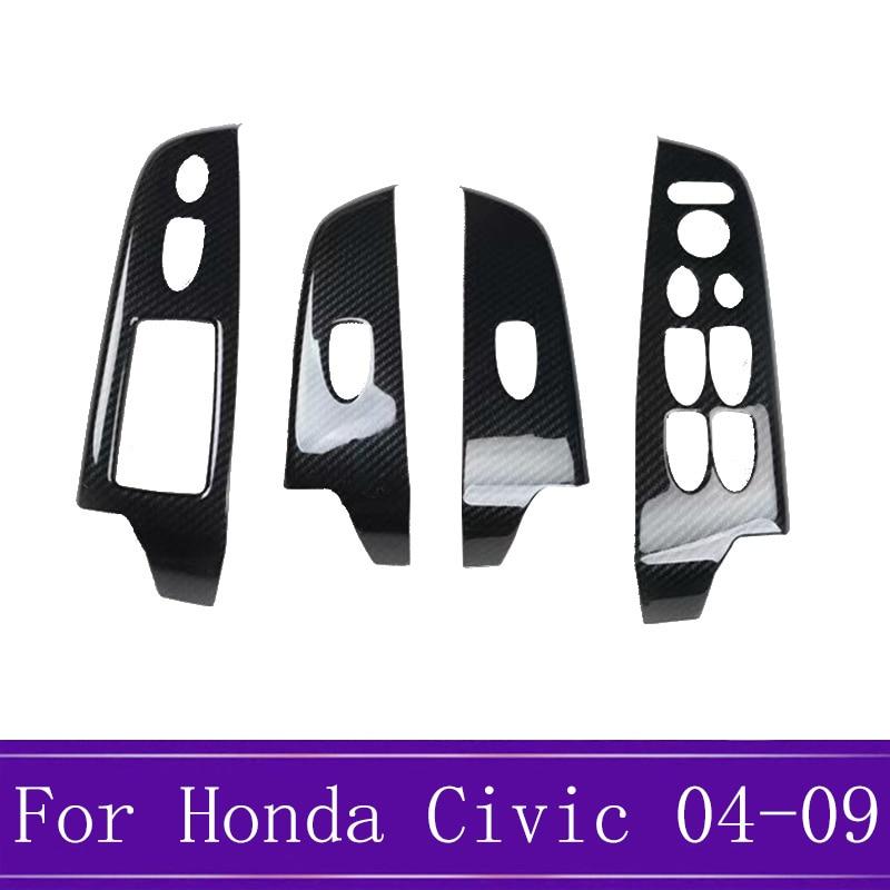 4 unids/set Panel de Control de ventana de fibra de carbono interruptor de elevación de vidrio Marco de decoración adecuado para Honda Civic 8th 2004-2009