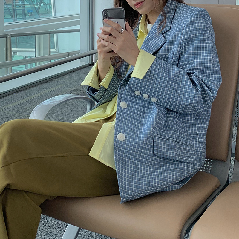 Blue Plaid Blazer Womens Notched Collar Full Sleeve Elegant Single Breasted Coat OL Style Office Ladies Jacket Suits Coat