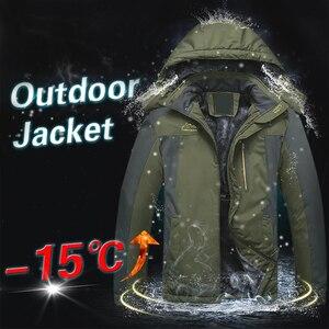 Image 2 - Winter Männer Jacken Dicke Warme Mit Kapuze Mantel Männer Im Freien Outwear Wasserdicht Lässig Inneren Fleece Jacken Plus Größe Thermische Jaqueta