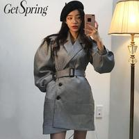 GetSpring Women Woolen Coat Plaid Long Sleeve Single Breasted Winter Woolen Jacket Retro Ladies Overcoat Autumn Winter 2019 New