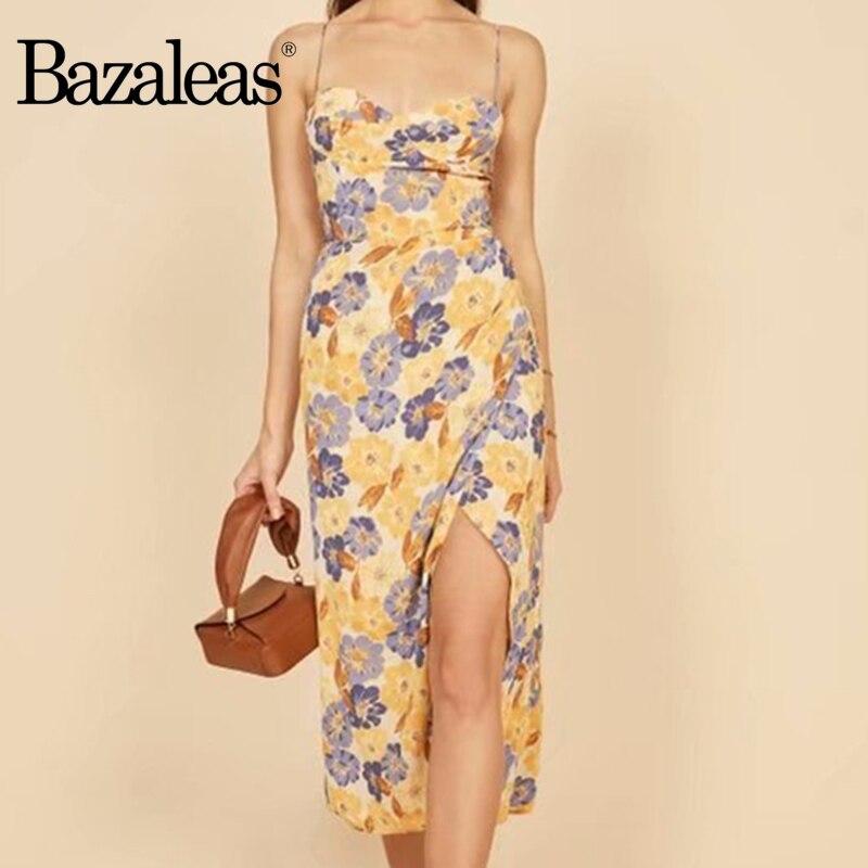 Bazaleas Fashion summer Dress Chic Yellow Floral Print women dress Ruffles vestidos Vintage Dresses|Dresses|   - AliExpress