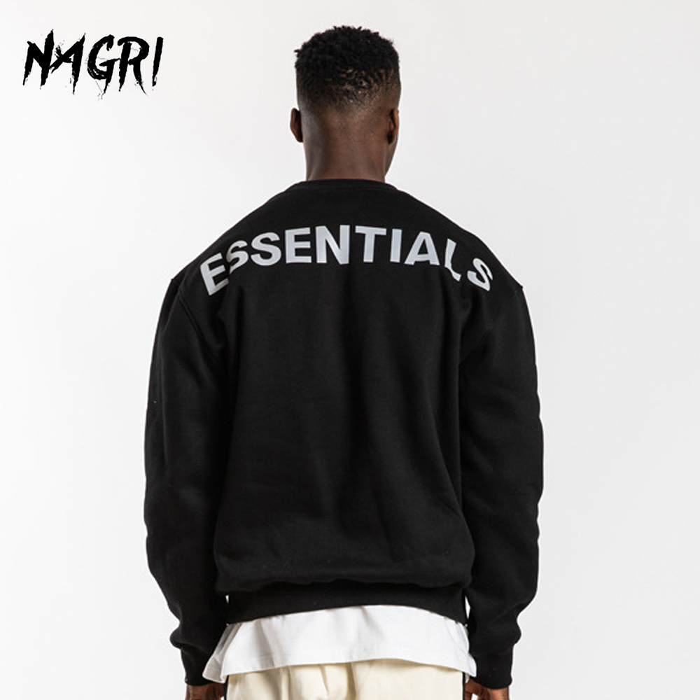 Fashion Reflective Men Sweatshirt Autumn Letter Print Pullover Streetwear Hoodies Casual Basic Solid Color Long Sleeve Hoodie