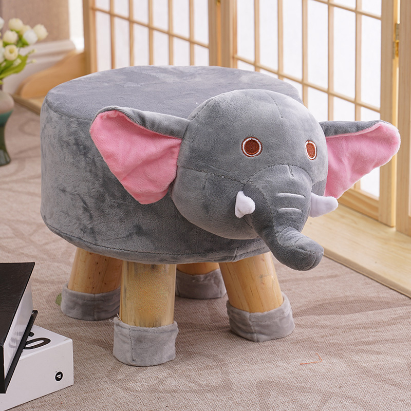 Stool Solid Wood Home Animal Stool Creative Shoe Bench Round Stool Sofa Stool Children Stool Cartoon Small Bench