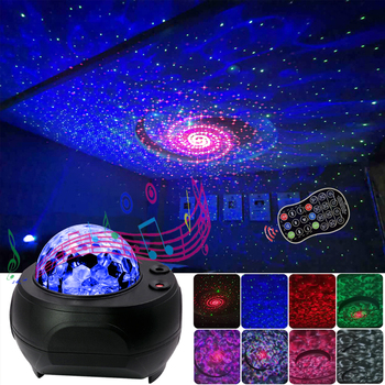 LED Laser Colorful Starry Sky Ocean Projector Night Light Remote Control Ocean Wave Projection Lamp With Bluetooth Music Speaker star ocean wave sky projector starry sky night light water wave night lamp sky laser galaxy projector