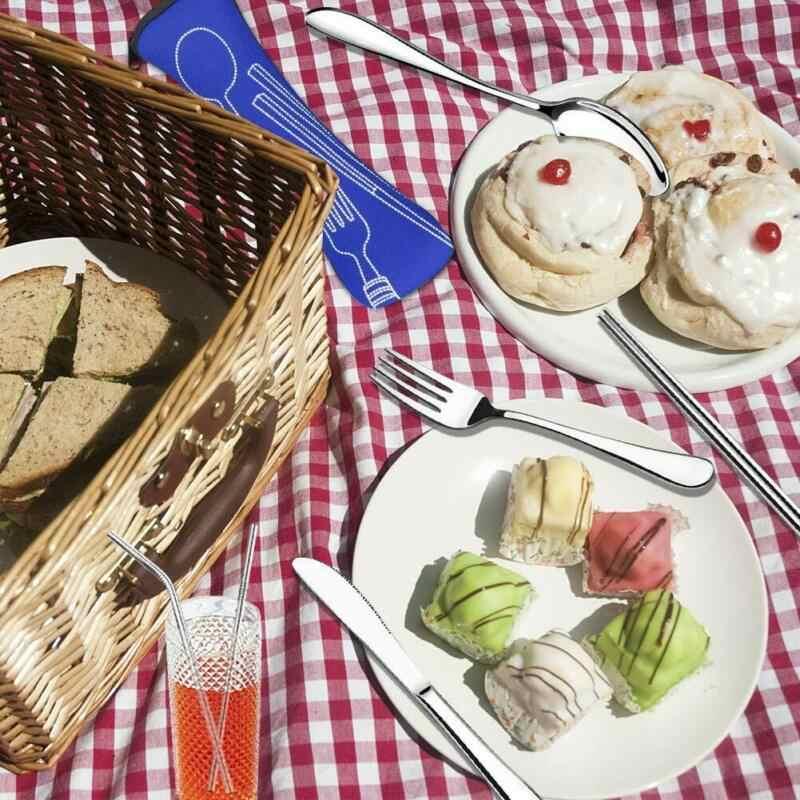 Couverts en acier inoxydable pour le déjeuner Portable, cuillère fourchette en acier inoxydable, couteau de plein air, vaisselle de table, service de table