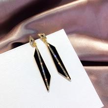 2019 Korean Style Geometric Rhinestone Drop Earrings Long Black Rectangle Dangle Earrings for Women Party Jewelry Gift цена и фото
