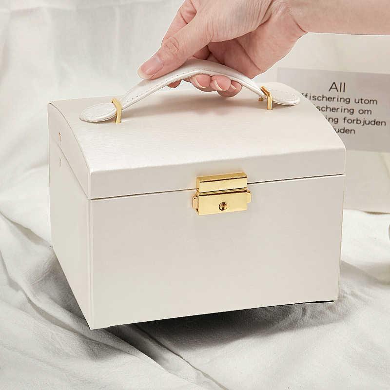 مجوهرات المنظم صندوق مجوهرات كبير قدرة عالية مجوهرات النعش مخزن للمكياج ماكياج المنظم جلدية الجمال صندوق سفر