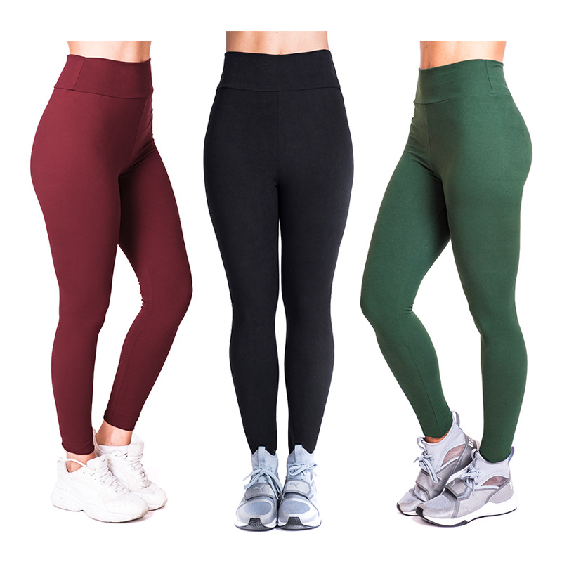 Fashion New Solid Color High Waist Sporting Fitness Leggings Push Up Elastic Women Sexy Slim Skinny Workout Leggings Pants 1