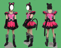 Halloween Pop Concert Cosplay Costumes Black Cat Dancers Sexy Pink Lolita Dress Unisex Party Role Play Clothing Custom Make Any