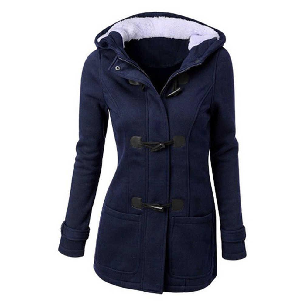 2019 플러스 사이즈 겨울 패션 여성 솔리드 컬러 호른 버클 후드 긴 소매 코트 가을, 겨울 코트 여성 오버 코트