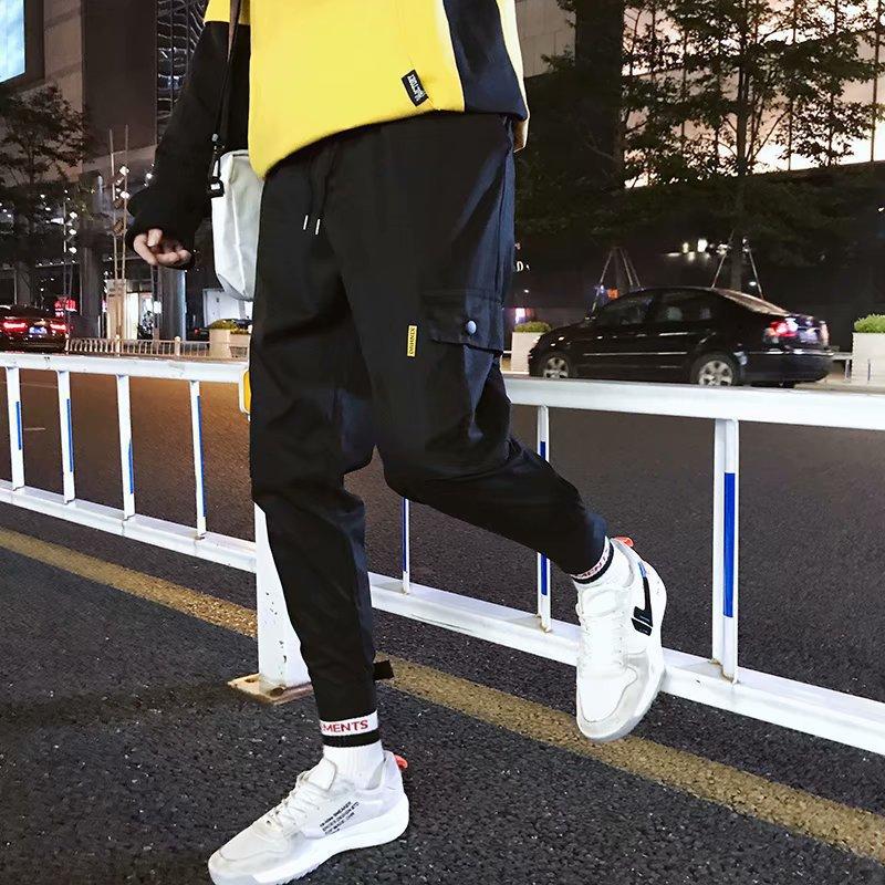 MEN'S Overalls Korean-style Side Edge Large Pocket Casual Pants Japanese-style Harajuku-Style Versatile Velcro Trousers Ankle Ba