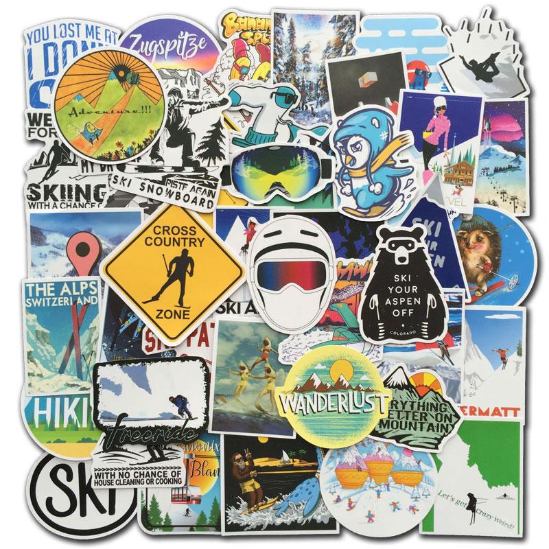 70 Pcs/Set Winter Ski Stickers Skiing Snow Mountain Penguin Graffiti Sticker Pack For Luggage Laptop Fridge Snowboard Skis Decal