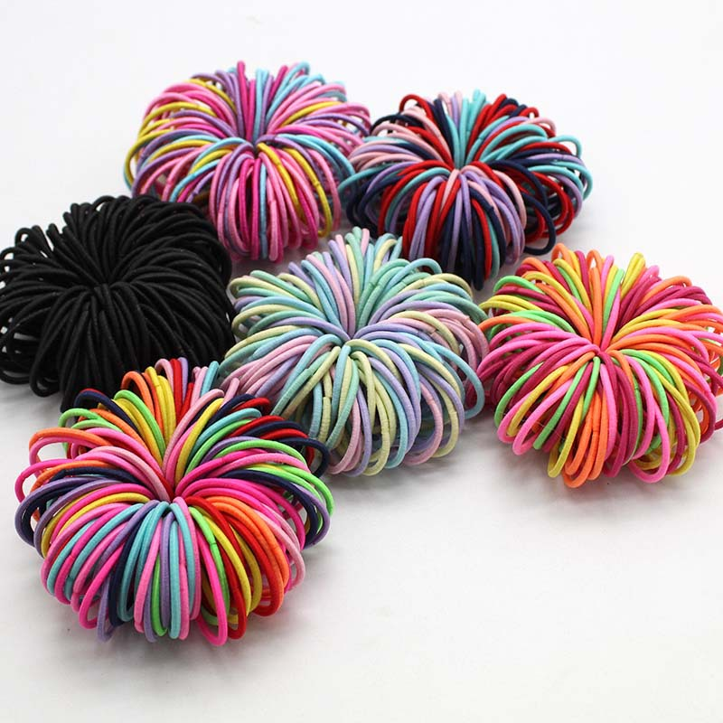100pcs/lot 3CM Cute Girl Ponytail Hair Holder Hair Accessories Thin Elastic Rubber Band For Kids Colorful Hair Ties