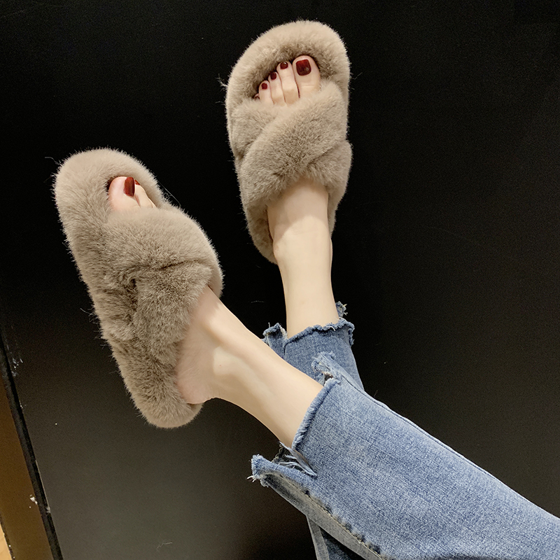 Cozy Furry Slides Winter Women House Fuzzy Slippers 2019 Faux Fur Fashion Warm Home Shoes Woman Slip On Flats Female