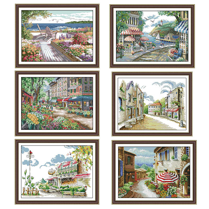 Seaside Cafe Streetscape Schilderij Count Print Op Canvas 14CT En 11CT Dms Kruissteek Patroon Borduurwerk Kit Diy Handwerken Set