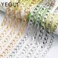 Цепочка YEGUI C159 позолоченная, 18 К, 0,3 микрон, медь, металл, родиевое покрытие, Подвески, diy браслет ожерелье, ювелирные изделия, 1 м/лот