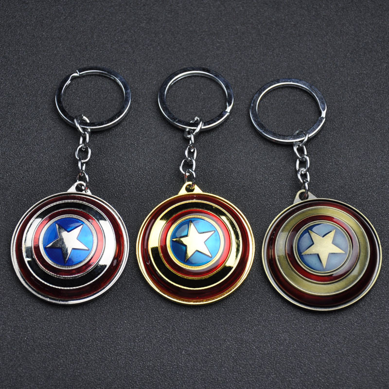 New Avengers Endgame Captain America Cosplay Accessories Weapons Armor Round Shield Metal Pendant Keychain Key Ring Toy Props