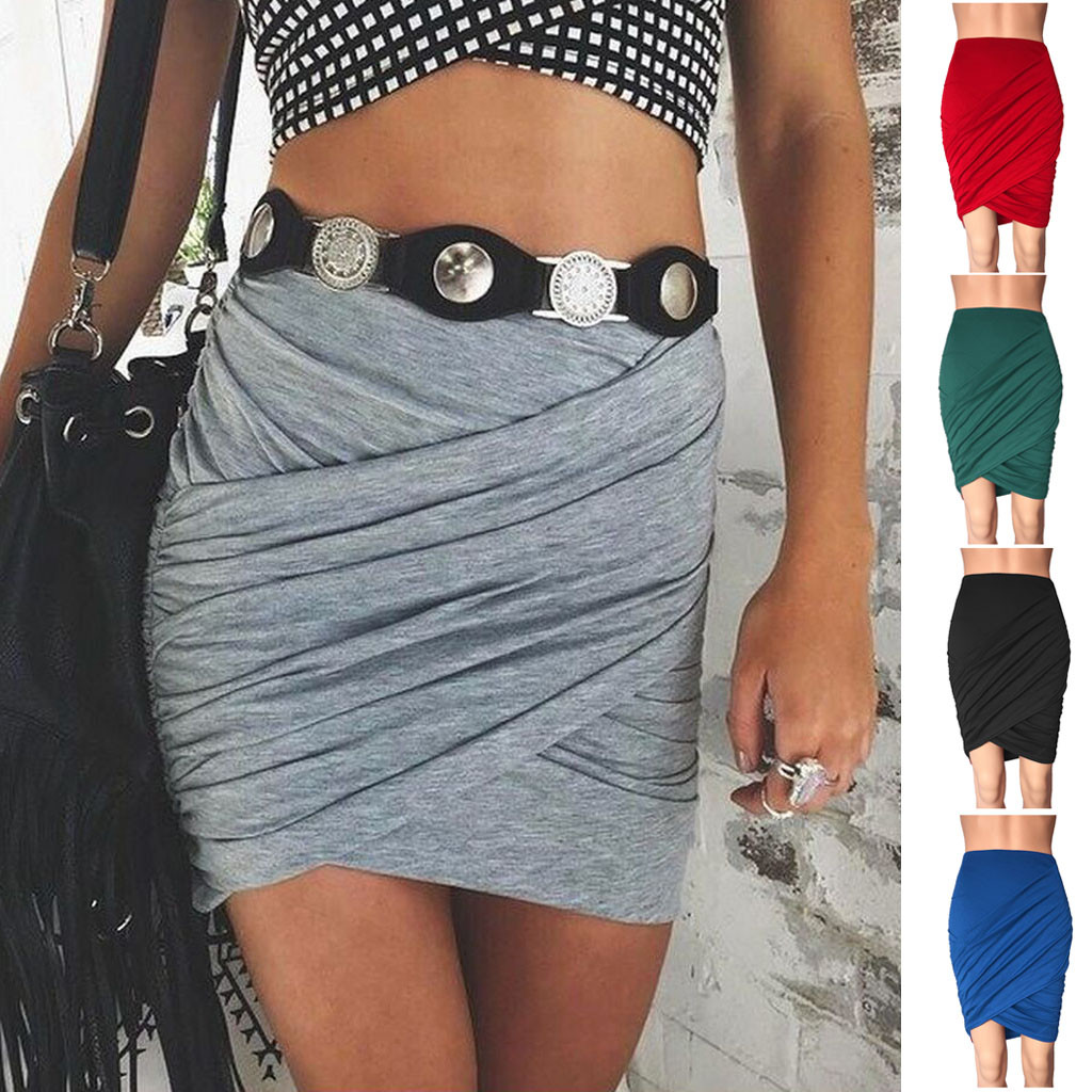 Ladys Sexy Skirt Pleating Cross High Waist Solid Casual Slim Base Skirt Юбка Женская Skirts Womens Faldas Mujer Moda 2020
