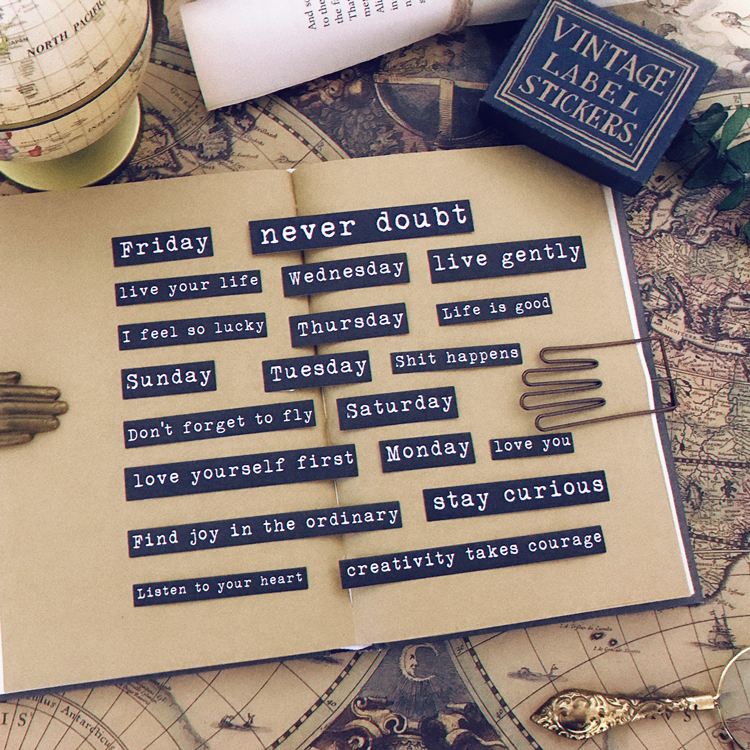 20pc/pack Retro Letter Weekly Plan Vintage Motto Encouraging Words In Life Deco Stickers DIY Planner Scrapbooking Label Stickers