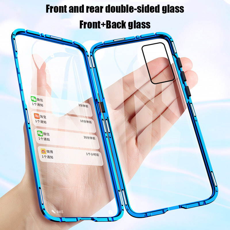 <font><b>360</b></font> Metal Magnetic Phone <font><b>Case</b></font> For Huawei P40 P30 <font><b>P20</b></font> Mate30 Mate20 Pro Honor 20 30 30S Double Side Tempered Glass Cover image
