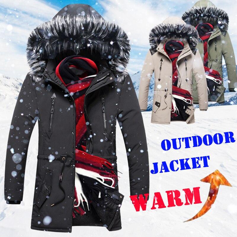 Winter Jacket Coat Parka Fur-Collar Veste Dhiver Hommes Fleece Long Mens Hooded Warm