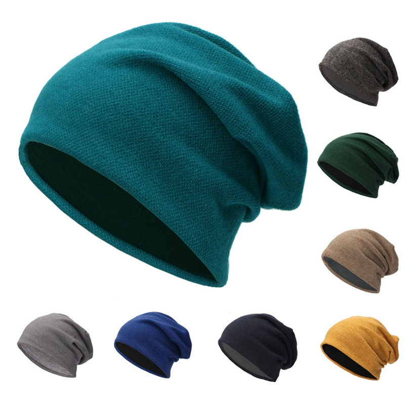 Beanie Cap Casual Thick Breathable Knit Cotton Hat Headwear Outdoor Autumn Winter Warm Running Hat