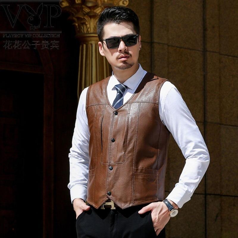 Playboy Vip Winter New Style Vest Middle-aged Men PU Leather Waistcoat Suit Waistcoat Plus Velvet Jacket
