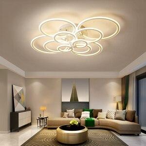 Image 4 - Hot White/Black led chandelier for living room bedroom study room remote controller dimmable modern chandelier ceiling AC90 260V