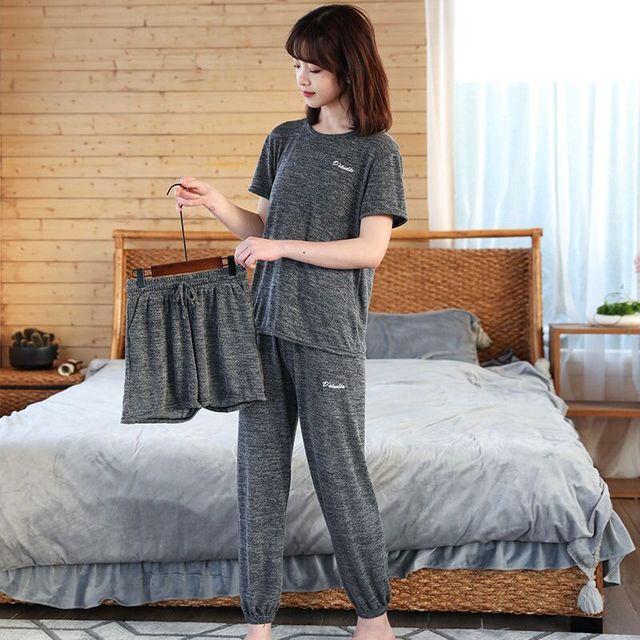 女性の綿のパジャマセクシーな赤パジャマセット女性パジャマセットロングシャツパンツショーツ3ピース/スーツカジュアルホームウェアビッグサイズ