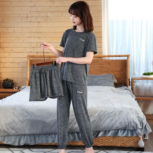 Delle donne Pigiama di Cotone Rosso Sexy Degli Indumenti Da Notte Set Delle Donne Rosa Pajama Set Camicia Lunga Pant Shorts 3 Pezzo/Vestito casual Homewear Grande Formato