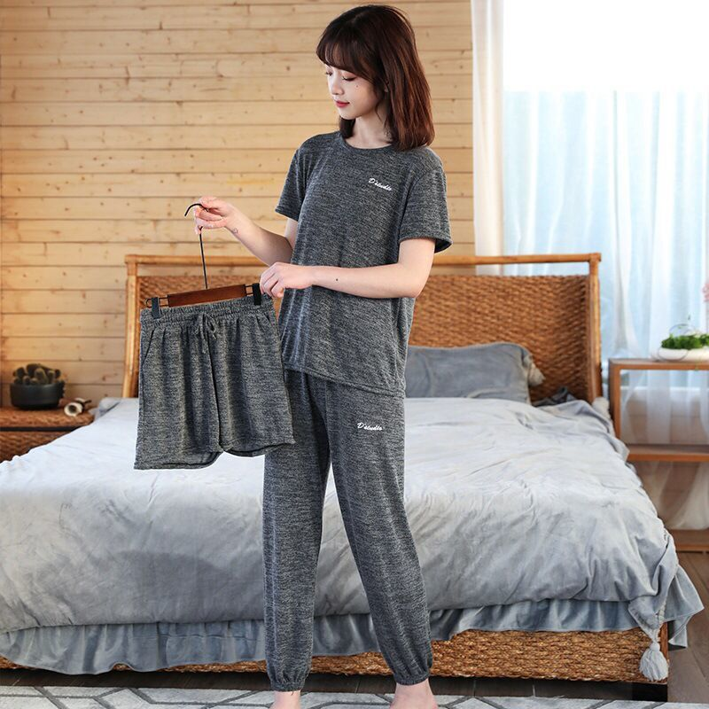Casual Pajamas Set Women Soft Cotton Mom Sexy Pyjama Long Pants Shorts Shirt Blinder 3Piece/Set Big Size Home Sleepwear|Pajama Sets| - AliExpress