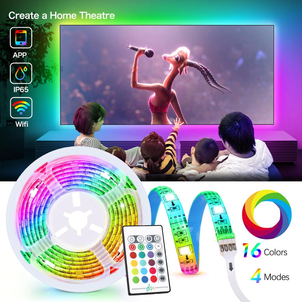 Smart TV <font><b>Led</b></font> Strip Lights music sync WiFi App or Remote Control <font><b>5V</b></font> 4X50cm USB For 40