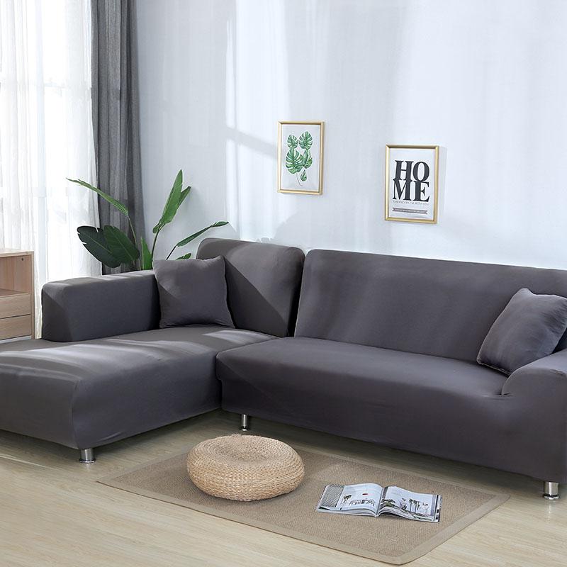 Серый Цвет эластичные диван накидка на двухместный крышку диванных