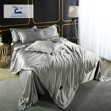 Liv-Esthete Gray Bedding Set Luxury Duvet Cover Flat Sheet Pillowcase 100% Silk Double Decor Bedspread Euro Adult Bed Linen