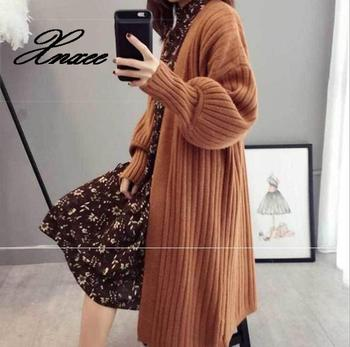 Xnxee Knit Maxi Cardigan Sweater Women Casual Open Front Loose Cardigan Ladies Fall Winter Stitching olive green shawl collar open front cocoon cardigan