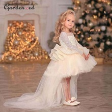 Ball-Gown Dresses Princess-Dress Glitter Puffy Flower-Girl Kids Sequin Birthday Bow Mesh