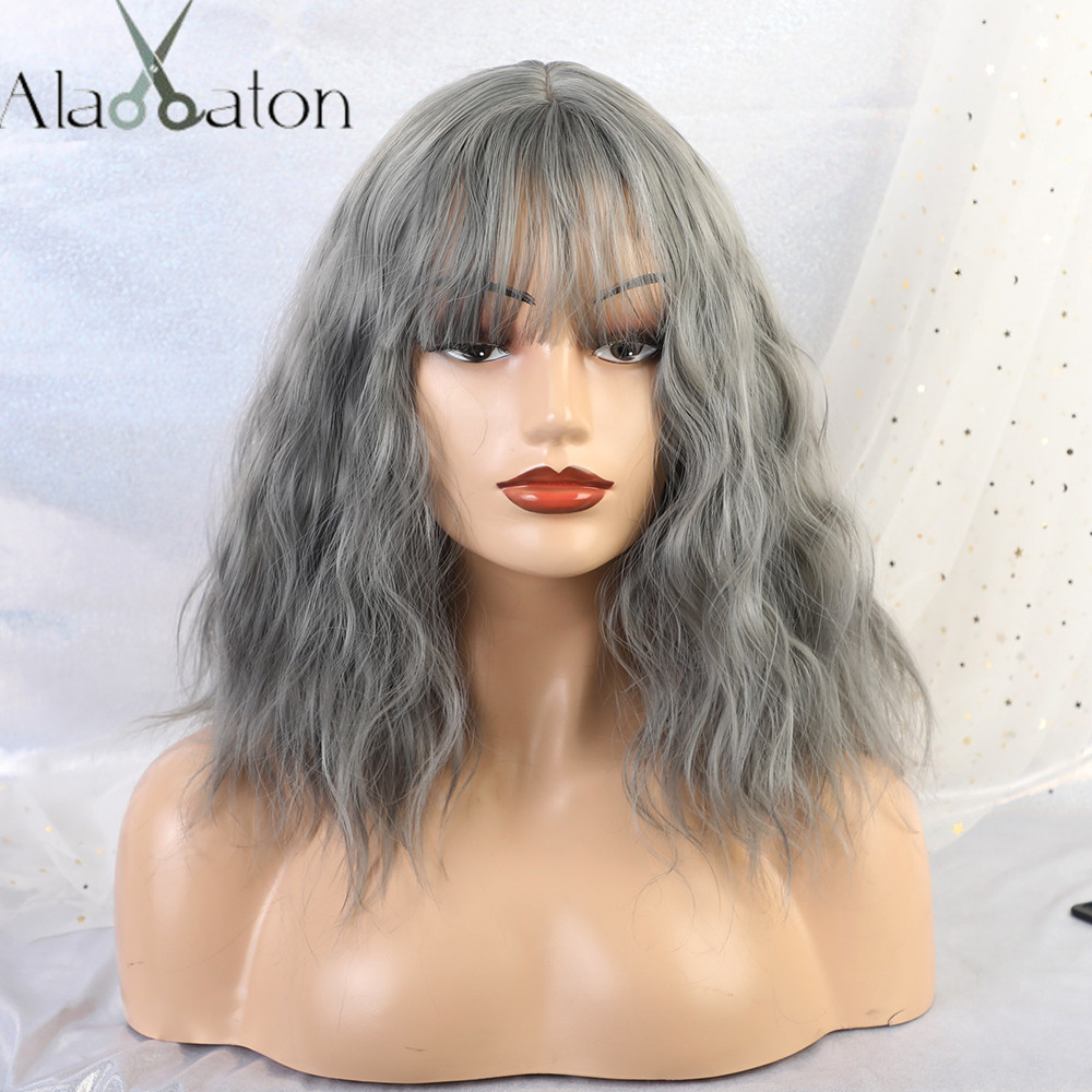 ALAN EATON Short Water Wave Synthetic Hair Wig for Women Heat Resistant Fiber Bobo Hair Lolita Blue Ash Cosplay Wigs with Bangs