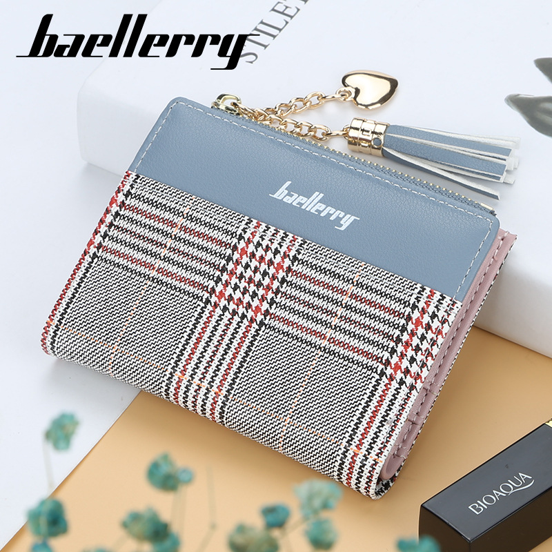 Baellerry 2019 Small Wallet Women Leather Plaid Card Holders Tassel Ladies Clutch Purse Women Wallets Zipper Coin Pocket W026