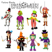 Twins Party Halloween Hanging Decoration DIY Paper Scary Pumpkin Ghost Pendant For Home Birthday Supplies