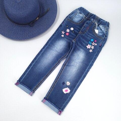 algodao elastico macio denim calcas criancas bordado flores toldder roupas meninas